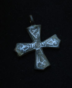 Viking cross with silver inlay (niello)
