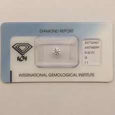 Natural diamond, 0.42 ct G I1.