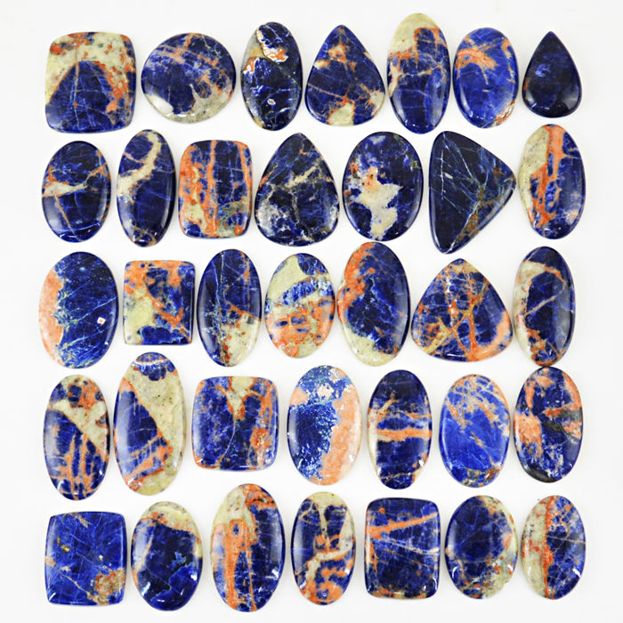 Large Blue Sodalite Polished Cabs lot - 1580 ct - (35 pcs)