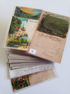 lot consisting of 121 Lithographies, postcards from Germany, period:1893-1905