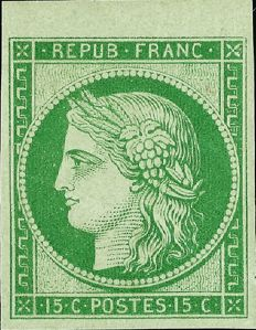 France 1850 – 15 centimes green reprint from 1862 top of sheet with certificate by Roumet – Yvert n°2e