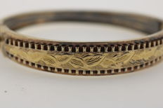 Tombac bangle gold-plated hand-engraved