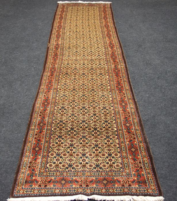 Very beautiful MOUD Hallway rug, IRAN, Hand-knotted, 20th century, 393 x 80 cm
