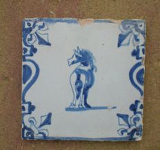 Antique tile, baluster with lilies, special depiction