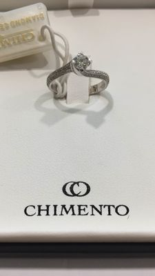 Chimento - Solitaire ring in 18 kt white gold with diamonds - size 14