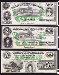 USA - Obsolete Currency - 1, 2 and 5 dollars 1800's -Bank of New England - remainders