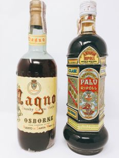 1 x Brandy Osborne Magno Jerez (tax stamp 80 cents, cork) + Palo Ripoll Quina Liquor from Lluchmajor, Mallorca (tax stamp 4 ptas, screwcap)