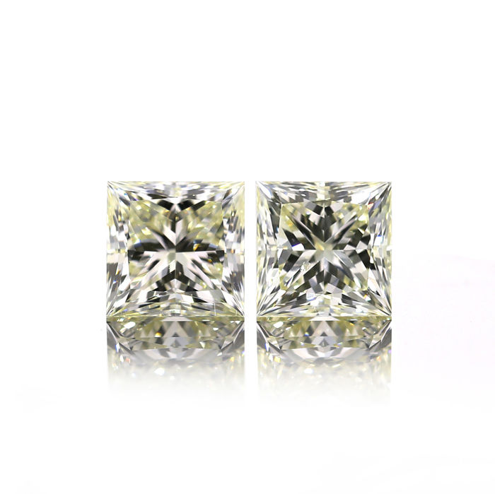 Perfect Matching 4.06 ct. Pair of Natural QR-ST Color Princess Cut Diamond, GIA Certified