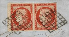 France 1850 - Ceres 40 centimes dark orange in set of two, cancelled by the grid with sheet edge Signed - Yvert 5b
