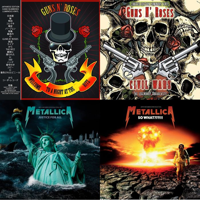 Metallica + Guns N Roses ~ 4 Limited Hand Numbered Coloured Vinyl LPs ~ All Limited to only 500 Copies Worldwide