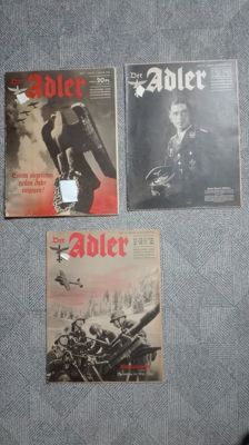 3x Fiercely sought-after Der Adler  (including the edition Werner Mölders ) complete!