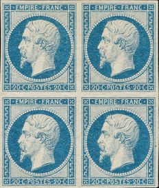 France 1854 - Empire imperforated 20 centimes milky blue in block of 4 - Yvert 14A