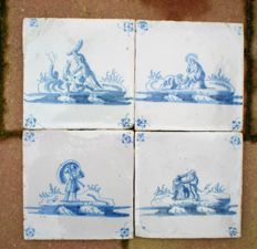 Lot with 4 antique tiles with biblical depictions (special depictions)