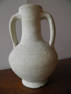 Amphora in red terracotta with two handles coated with white slip - Roman Period - 180 mm