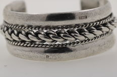 Antique silver bangle handmade 925 solid - diameter: approx. 65.08 x 53.73 mm