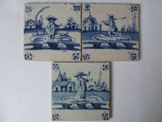 3 landscape tiles with 2 shepherds and one shepherdess