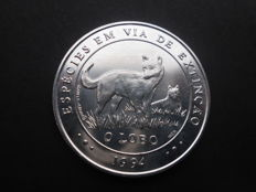 "Portugal – Republic – 1,000 Escudos – O Lobo (""The Wolf"") – Espécies em Via de Extinção (""Endangered Species"") 1994 – Silver"