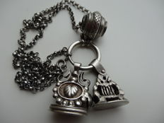 Silver watch necklace with signettes and barrels