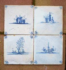4 Antique tiles with landscapes with special depictions.