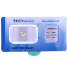 0.80 Ct. Natural N-O Color VVS1 Cushion shape Diamond. HRD