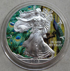 United States - Dollar 2015 'Silver Eagle - Animals Indian Peacook Peafowl' colorized - 1 oz silver