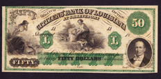 USA - Obsolete currency - 50 dollars 1800's - Citizen Bank of Louisiana - remainder