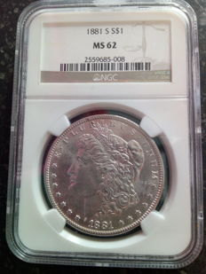 United States - Morgan Dollar 1881 (San Francisco) in NGC Slab - Silver