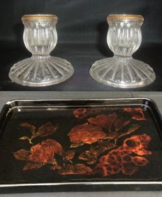 Crystal Candlestick holders with gold detail, France ca.1900 | Breakfast Serving Plate - Flower themed embedded - Italy