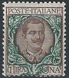 Italy, Kingdom 1922/1923 - 'Floral' 1 lire dark brown and green, 'B.L.P.' overprinted only on the back - Sass.  No. 12d