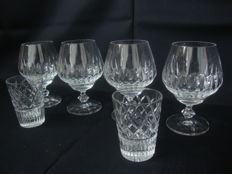 Atlantis Crystal - 4 Brandy glasses and 2 Large Whiskey tumblers, Portugal, late 20th century