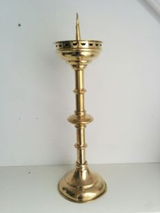 Large Dutch brass church candelabra 19th century