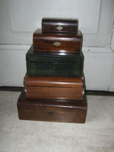 Five antique boxes - wood - England and France - 19th/20th century