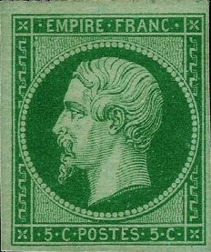 France 1860 - Empire imperforate 5 centimes dark green on green, carefully chosen 1st choice stamp - Yvert 12 c