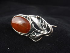 Vintage Sterling Silver & Baltic Amber Brooch
