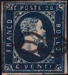 Sardinia, dark blue 20 Cent stamp from 1851 - Sassone No. 2c