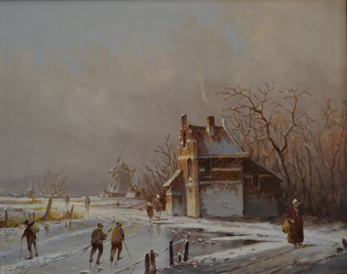 Jan Hendrik Jacob Jasper (1937-heden) -  alias Mooyman - Oud-Hollands Winterlandschap