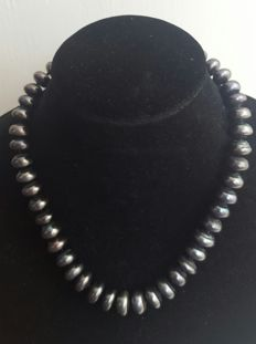 925 silver -  Black cultured freshwater pearls - Length: 50 cm