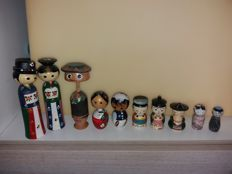 Kokeshi Ningyo - - 10 vintage male dolls with a few rare ones.
