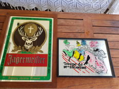 Jagermeister advertising mirror and Troupe de mlle Eglantine vintage mirror