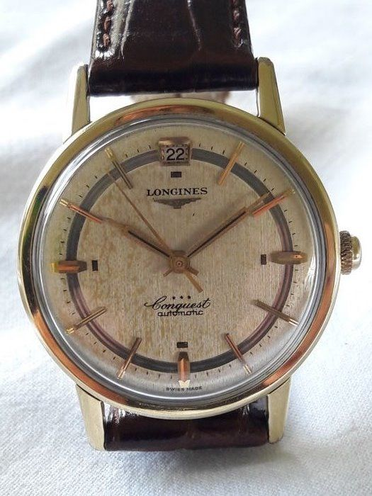 8c44d0bc64c Longines extremely rare Conquest 18 kt yellow gold gold plated waterproof  automatic