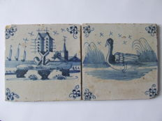 2 pieces Landscape tiles with Dovecote and Swan