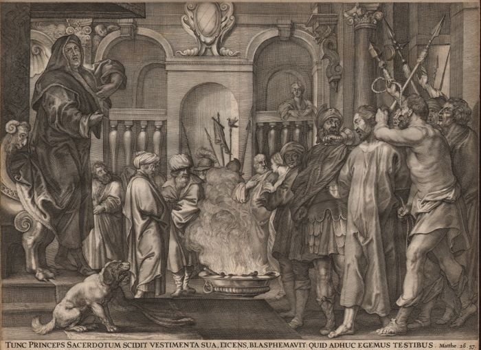 Claes Jansz. Visscher (1587-1652) published: Christ before Caiphas - 1652