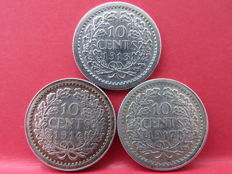 The Netherlands - 10 cent 1913, 1914 and 1917 Wilhelmina - silver