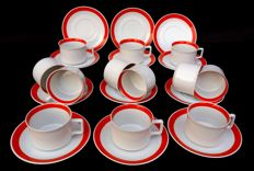 Lot of 9 Cups with Saucer, signed and stamped Bavaria Schirnding