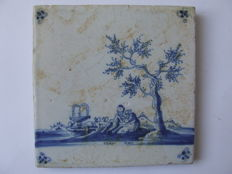 Antique tile with Pastoral scene -- Rare