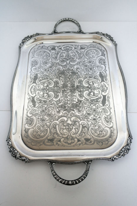 A large silver plated serving tray by Viners of Sheffield, 20th century