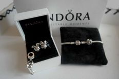 "Pandora bracelet ""old collection + 4 charms ""Disney Cartoon"" icon Mickey & Minnie – 925 silver and – length: 18 cm."