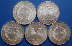 France - 50 Francs 1978 'Hercule' (5 coins) - silver