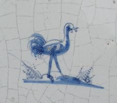 Antique tile with an ostrich (Special depiction)