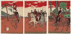 Original triptych woodcut by Inue Yasuji (1864–1889) – Meiji emperor who is inspecting his army in Aoyama – Japan – 1889